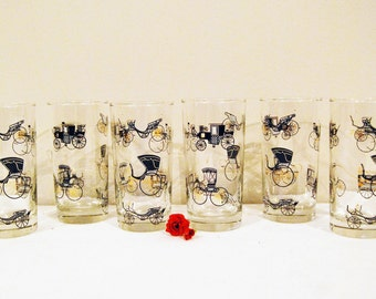 Vintage GLASSWARE Steampunk Black with Gold Stagecoach SURREY......set of Six