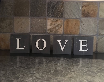 Love, small pine tiles, home decor. Perfect to decorate any & every little space.