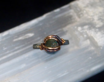 SIZE 5.5~ Green Tourmaline Wire Wrapped Ring~ 14K GF+ Sterling Silver (oxidized)