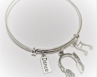 Bangle, bracelet, silver plated brass, adjustable, music, dance, headphones