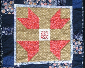 Baby Quilt - Play Mat in Navy Blue Flowers and Batik with Coral Cotton Fabric Baby Blanket for Baby Girl