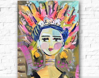 Warrior Girl Print portrait impressionist modern abstract girl 8x10 16x20