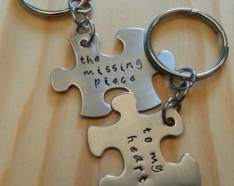 Hand Stamped Keychain - Personalized Keychain - The Missing Piece to My Heart - Couple Keychain Puzzle Pieces