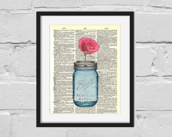 Dictionary Art Print. Mason Jar Print. Art Print. Mason Jar and Rose Print.