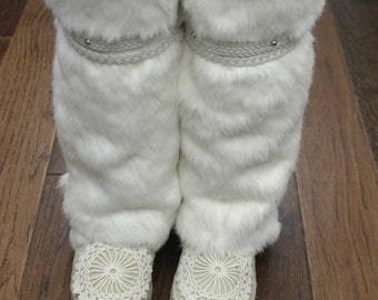 Real Upcycled Rabbit Fur Mukluk Boots Gogo Dancer Crochet Winter Shearling Sheepskin Knee High Winter