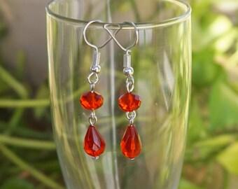 Red Crystal Dangle Earrings, Women's Beaded Earrings, Red Earrings