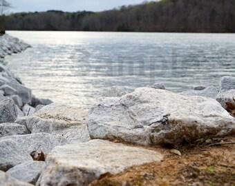 Lake & rocks water lake, digital photo, background