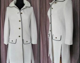 Lilli Ann Knit Coat / Vintage Lilli Ann Coat / Lilli Ann Spring Coat / Lilli Ann White Coat / 60s Lilli Ann Coat / fits S / Lilli Ann Knit