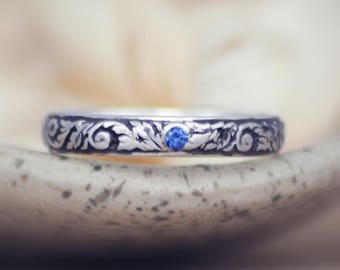 Vine Commitment Ring - Sterling Silver Blue Sapphire Wedding Ring - Narrow Band Ring - Nature-Inspired Wedding Band - Mens Engagement Ring
