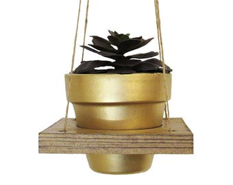 Hanging Planter, Succulent Planter, Air Planter, Hanging Pot, Terracotta Pot, Succulent Holder, Gold Planter, Wood Planter, Succulent Gift