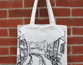 Venice Art Canvas Tote Bag with Pocket, Italy Tote, City Architecture, Skyline, Cityscape Tote