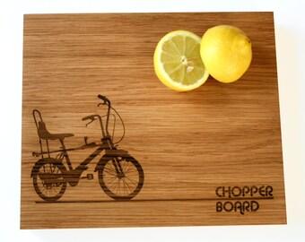 Father's Day Chopping Board - Oak Chopping Board - Chopper Bike - Wooden Chopping board - gift for foodies - retro solid oak chopping block