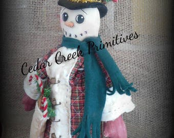 Primitive Folk Art Snowman Dapper Dan by Cedar Creek Primitives