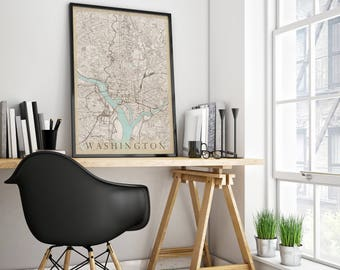 Vintage style Map of Washington, DC - Fits IKEA frame - Travel Decor - Washington Map - Scandinavian Art - Washington Poster - Office Decor