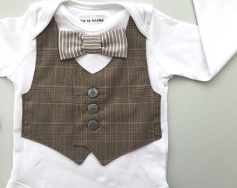 Baby boy clothes, baby vest and bow tie bodysuit, baby boys wedding outfit, page boy, first birthday outfit, baby waistcoat one piece