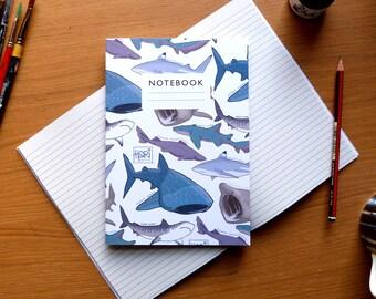 Shark pattern notebook - Lined or plain paper  |  sketchbook  |  exercise book  |  students