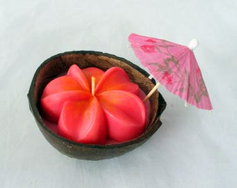Coconut shell candle, hawaiian candle, luau party, Tahitian Orchid, coconut bowl, tropical candle, coconut candle, party candle