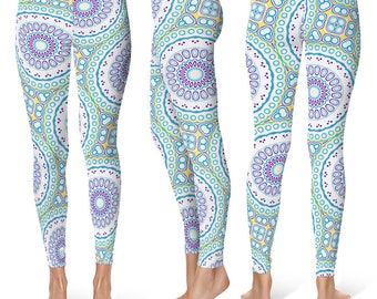 Spring Leggings, Fun Leggings, Blue and Purple Mandala Pattern Footless Tights, Stretchy Pants, Yoga Clothing