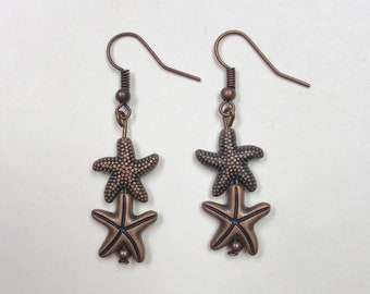 Copper Starfish Earrings