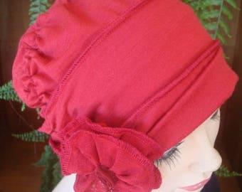 Red chemo hat womens hat ooh lala hat cloche fine merino headcover chemo gift winter lipstick red
