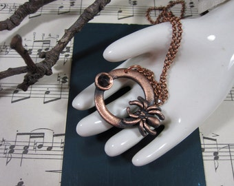 SPRING CLEAN SALE One of a Kind Copper Electroformed Spider with Rose Cut Garnet Necklace