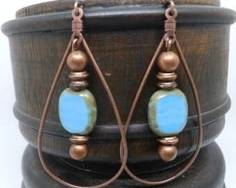 Copper earrings/ boho jewelry/copper earrings/hoop earrings/turquoise earrings/copper jewelry/Gypsy jewelry/bohemian jewelry/Boho chic