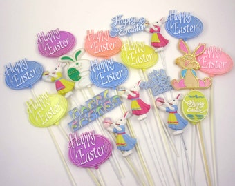 Vintage Plastic Easter Cake or Cupcake Decorations with Words Happy Easter Rabbits Eggs Set of 20 Lot B