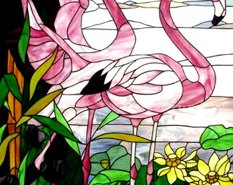 BUY 2 GET 1 FREE! Flamingo Stained Glass 464 Cross Stitch Pattern Counted Cross Stitch Chart, Pdf Format, Instant Download /198264