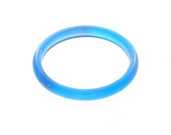 Natural Blue Agate Gemstone Plain Band Ring