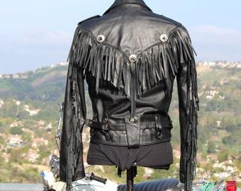 Black Leather Motorcycle Jacket  w/Fringe (Vintage/90's/Wilson)