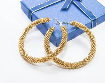 Gold beaded earrings, Light gold earrings, summer party earrings, Big hoop earrings Evening earrings birthday gift for wife everydey jewelry