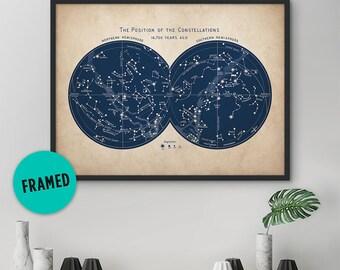 Framed Art, Constellation Print, Star Map, Constellation Art, Astronomy Print, Wall Art, Nautical Decor, Bedroom Wall Decor, Astrology