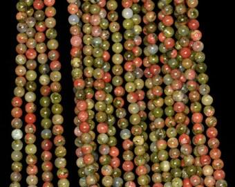 """3mm Unakite Round beads full strand 16"""" Loose Beads P142727"""