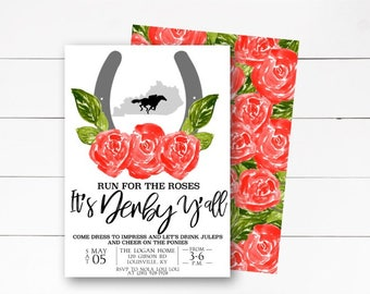 Run for the Roses Invitation, Kentucky Derby Invitation, Horse Racing Invitation, Mint Juleps Invitation, Derby Party, DIY or Printed