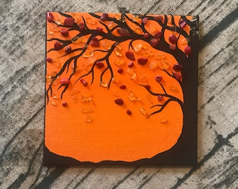 Original tiny small acrylic painting with tree and gemstones crystals