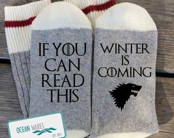 SUPER SOFT Novelty Word Socks, Game of Thrones, GOT, Winter is coming, Funny Socks, Word socks, novelty socks, personalized socks