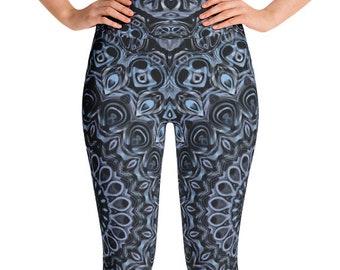 Dark Blue Leggings High Waist Yoga Pants, Blue Mandala Leggings, Festival Clothing, Rave Wear, Clubwear