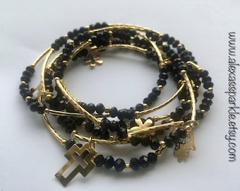 Crystal Black Beaded Charm Bracelet set (7) with Gold Plated Charms - Semanario pulseras cristal Negras con dijes Chapa de Oro