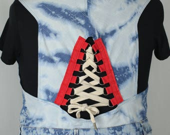Repurposed bleached waistcoat with corset detail back UK22