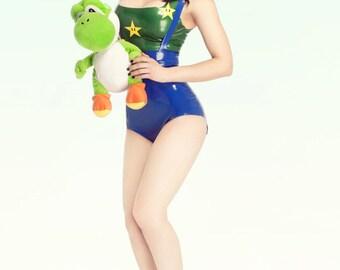Rubber Latex Luigi Inspired Cosplay Costume