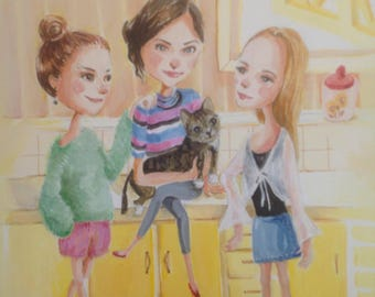 Custom Portrait illustration for 3 people + pet with detailed back ground by EkakiElly