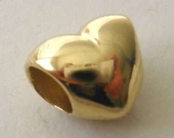 Genuine SOLID 9K 9ct YELLOW GOLD Charm Serenity Love Heart Bead
