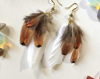 White and Brown Feather Earrings