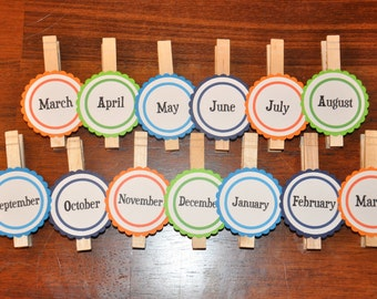 Month Photo Clips. Photo Banner. Picture Banner. Great for Birthdays. Orange. Green. Navy. Blue