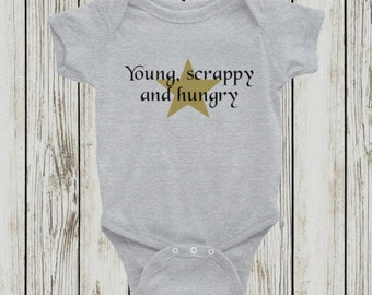 Young, scrappy and hungry - Hamilton inspired bodysuit in gray