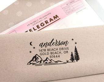 Address Stamp - Custom Address Stamp with Mountains, wedding, housewarming, christmas gift, rubber stamp, return address stamp, self inking