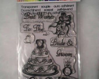 soft transparent wedding theme stamps