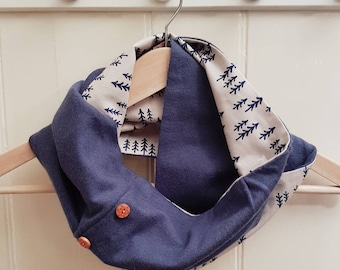 Silk Cotton Bears in the Woods Infinity Scarf