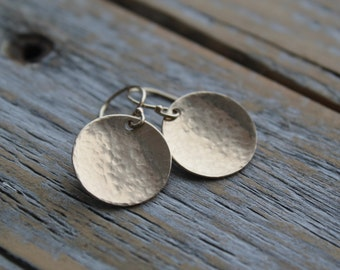minimalist jewelry, hammered gold disc earrings, holiday gift, festive party wear, simple gold jewelry, statement jewelry, gift for her, mom