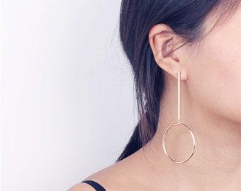 Gold Long Bar Dangling Circle Earrings - Statement Earrings